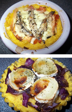 two polenta tartlets