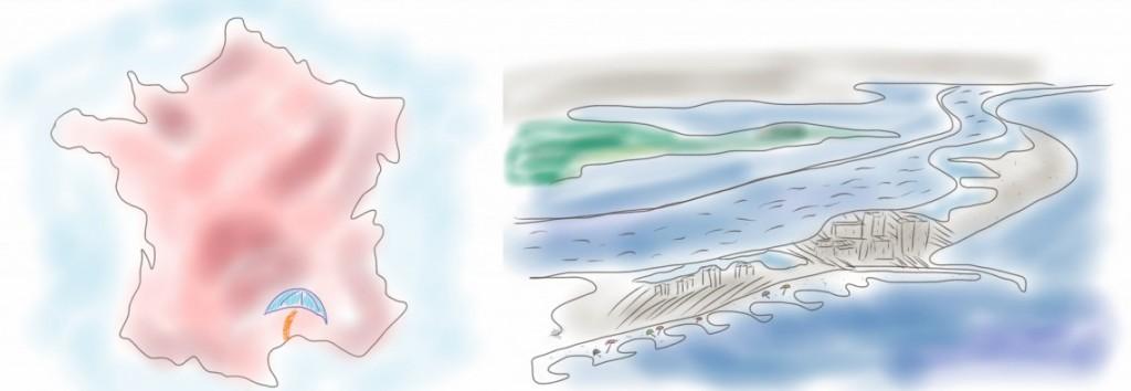 dessins de Frontignan Plage : carte et vue du ciel