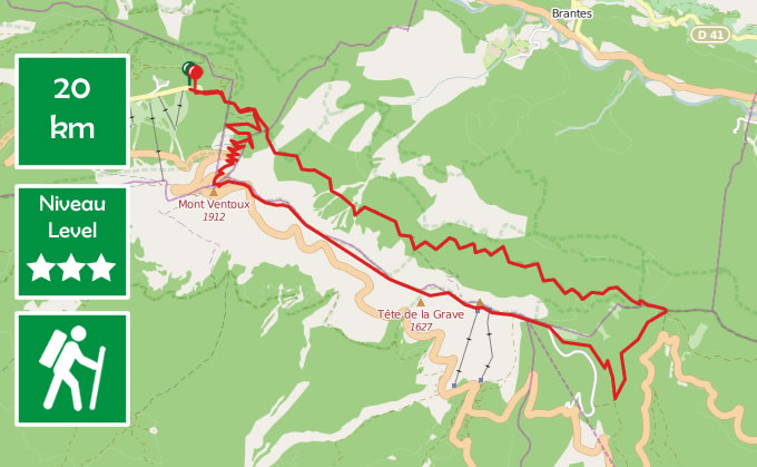 top mount ventoux hike route map