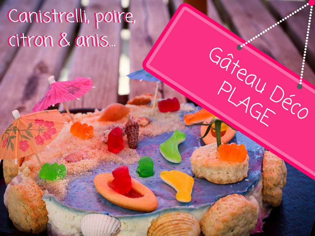 Photo d'un Gâteau decoration mer plage aux canistrelli poire citron anis