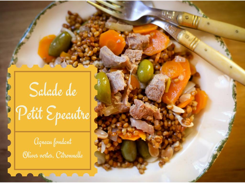 Salade de petit épeautre aux olives, citron, agneau fondant et citronnelle